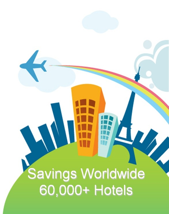 Savings worldwide 60,000+ hotels
